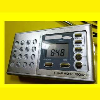 Weltempfänger/MW/Ukw Radio/Wecker/Uhr/Reisewecker/8 Band Word Receiver/mit Kopfhörer