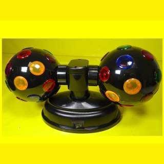 ZWILLINGS-DISCO-PARTY-KUGEL je 12 cm / Rotierende Leuchtkugel mit je 23 farbigen Linsen