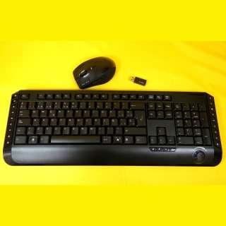 Funktastatur+Funkmaus/Reichweite bis zu 5 m und USB-Empfänger/2,4 GHz/SW/QWERTY