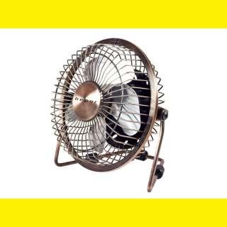 USB Retro Tisch Ventilator /Designer Ventilator /Lüfter/4 Flügel aus Alu/ Gestell Metall(Kupferoptik)