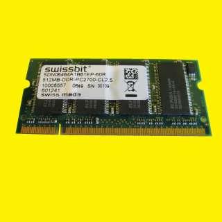 Notebook Arbeitsspeicher DDR1-RAM/SSwissbit 512 MB PC2700-2533 - SDN06464A1B61EP-60R