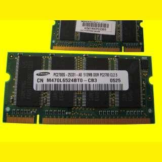 Notebook Arbeitsspeicher 512 MB DDR1-RAM/ PC 2700/ M470L646424DTO-CB3