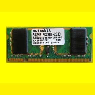 Notebook Arbeitsspeicher DDR1-RAM/Swissbit 512 MB PC2700-2533 - SDN06464A1B61EP-60R